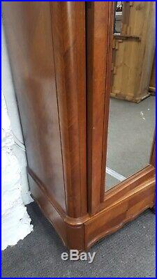 Antique french Three section Wardrobe With Mirror Doors