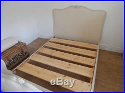 Antique french bed with new upholstery and slat base