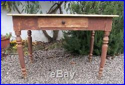 Antique french pine kitchen table, scrub-top table, dining table