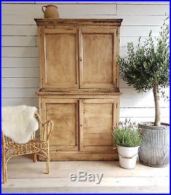 Antique french school cupboard / dresser unit with original worn paint