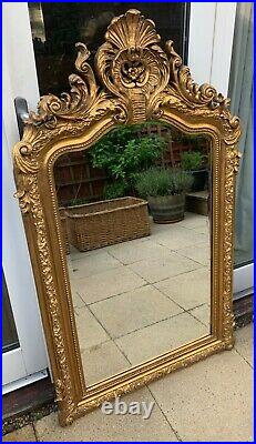 Antique gold large Louis XV French style ornate mirror