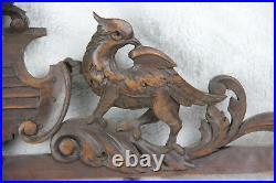 Antique large French pediment fronton wood carved gothic phenix dragon birds