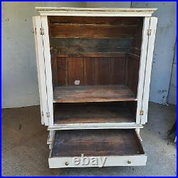 Antique, repro, French, painted, cream, 2 door, drawer, sloping back, cabinet, cupboard