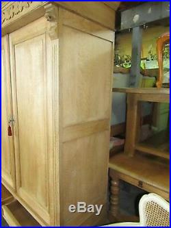 Antique solid French carved lions head stripped oak armoire, wardrobe, Flat packs