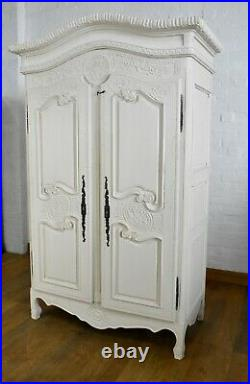Antique style painted French armoire double wardrobe