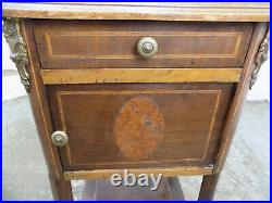 Antique, victorian, French, pot cupboard, table, drawer, side, end, cold, cabinet, shelf
