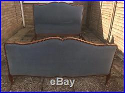 Antique vintage capitonne French original double bed