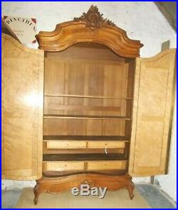 Antique wardrobe, French mirrored armoire, bonnetiere, linen press, hanging, shelves
