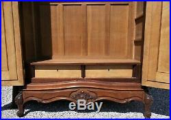Antique wardrobe, mirrored French armoire, mahogany, storage, hanging, shelves