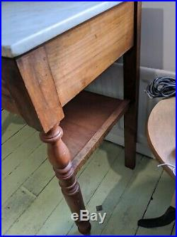 Antique wooden French table with marble top and drawer Washstand Vintage