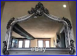 Arched Antique Silver French Statement Ornate Over mantle Scroll Top Wall Mirror