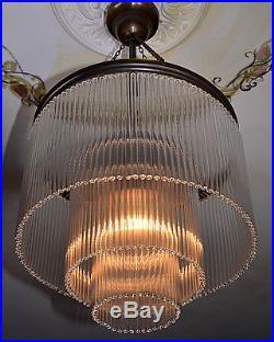 Art Deco Light Chandelier Glass Brass Ceiling Light Antique Vintage French Retro