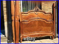 Attractive Antique French Louis XV Double Bed Frame Carved Oak And Fruitwood