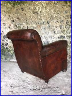 BEAUTIFUL ANTIQUE FRENCH LEATHER CLUB ARM CHAIR VINTAGE C1930 superb condition