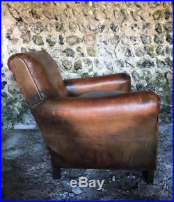 BEAUTIFUL ANTIQUE FRENCH LEATHER CLUB ARM CHAIR VINTAGE C1940 superb condition