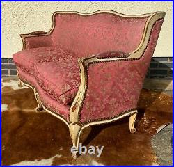 BEAUTIFUL ANTIQUE PAINTED FRENCH LOUIS XVI STYLE 3 SEATER SOFA circa 1950