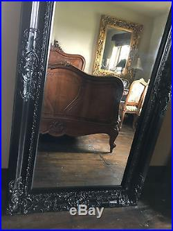 BLACK ORNATE LARGE FRENCH OVERMANTLE WOOD WALL DRESS LEANER MIRROR 6FT x 3FT