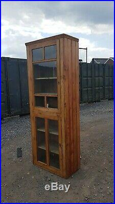 Beautiful Antique French 19th C Pine Glazed Cupboard Or Linen Press Very Elegant