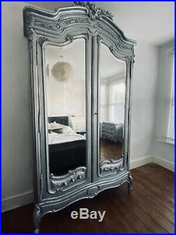 Beautiful French Armoire, Louis XV style, in Antique Silver