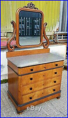 Beautiful French Biedermeier Marble Top Chest of Drawers / Dressing Table Mirror