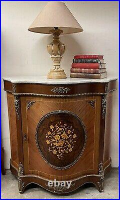 Beautiful French Kingwood Pier Cabinet / Credenza With Marble Top