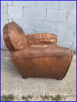 Beautiful, French, Leather Antique Club Chair, Industrial, Vintage