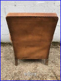 Beautiful, French, Leather Antique Club Chair, Industrial, Vintage, Rare