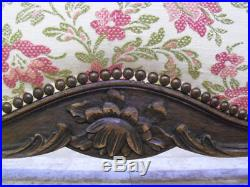 Beautiful Old French Carved & Upholstered Large Double Bed