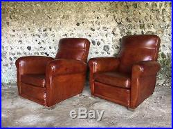 Beautiful Pair French Antique Russet Leather Club Arm Chairs C1950 Vintage