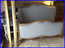Beautiful Vintage French Capitonne Double Bed Frame Gold Grey Upholstery