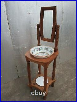 Beautiful Vintage French Pine Mirrored Wash Stand