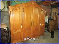 Big, Beautiful French Louis XV carved oak breakfront armoire, wardrobe, Flat pack