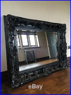 Black Ornate Large French Bevelled Wood Dress Overmantle Wall Mirror 5ft 4ft