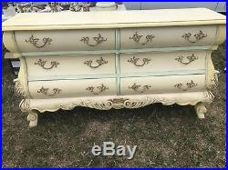 Bombe Shaped Painted French Chest Of Drawers Very Unusual