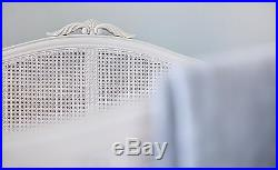 Bordeaux Antique White French Louis Style Shabby Chic Mahogany Rattan Cane Bed