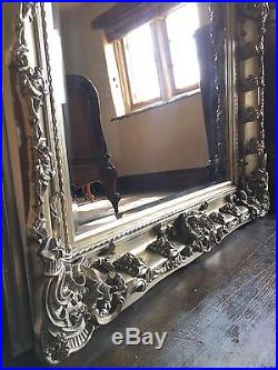 CHAMPAGNE ANTIQUE SILVER ORNATE FRENCH BEVELLED WOOD OVERMANTLE MIRROR 5FT x 4FT