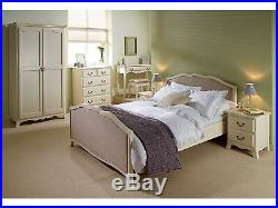Chantilly Antique White Bed with Linen Panels French Design Double & Kingsize