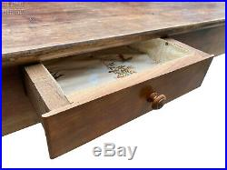 Charming Antique French Fruitwood 3 Plank Top Farmhouse Dining Table with Drawers