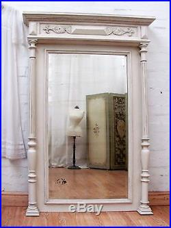 Charming Huge Antique French Painted Walnut Column Mirror C1900