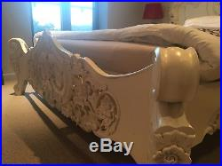 Cream Rococco French Bed King Size