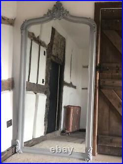 Distressed Grey Ornate French Arch Scroll Dress Floor Leaner Wall Mirror 7ft