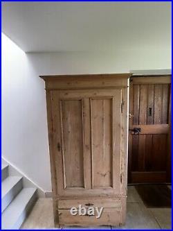 Divine Antique French Pine Cupboard Armoire Wardrobe Rustic Cottage Storage