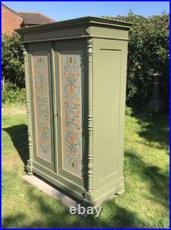 Exceptionally Pretty Antique French Painted Knockdown Wardrobe. Free Delivery