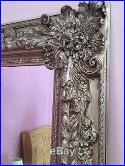 Extra Large champagne silver gilt French Renaissance style Wall leaner mirror