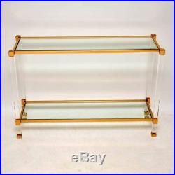 FRENCH RETRO LUCITE, GLASS & BRASS CONSOLE TABLE VINTAGE 1970's