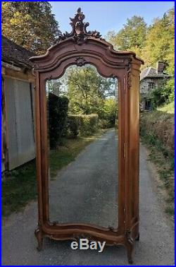 Fab Antique French Curved Sides C19th Louis XV Mirror Rococo Wardrobe Armoire