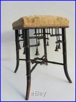 Faux Bamboo French Napoleon III Chinoiserie ebonized and gilt Stool/ Seat, 1850