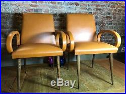 Faux leather Pair of mid century french chairs
