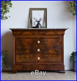 French Antique 19C Flame Mahogany & Oak Chest of Drawers with Marble Top