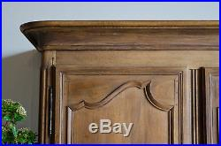 French Antique 19C Oak Knockdown Armoire Wardrobe with Hanging Rail and Drawers